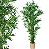 PLANTASIA Bambus-Strauch, Echtholzstamm, Kunstbaum, Kunstpflanze - 190 cm Schadstoffgeprüft