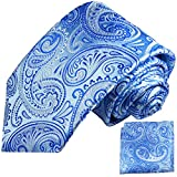 Paul Malone Krawatten Set 2tlg blaue paisley Seidenkrawatte + Einstecktuch (Schmale Krawatte 6cm)