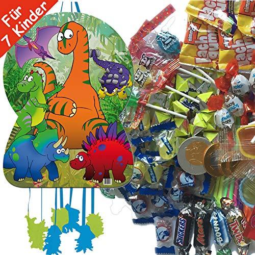 Dino * mit riesengroßer Piñata + 100-teiliges Süßigkeiten-Füllung No.1 von Carpeta | Spanische Zugpinata für bis zu 7 Kinder | Tolles Dino-Spiel für Kindergeburtstag ()