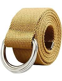 ishine cinturones hombre elasticos Mujer Ocio Cinturón de Lona  Semi-circular Externo Cinturón para Jeans 593a72bf9e83