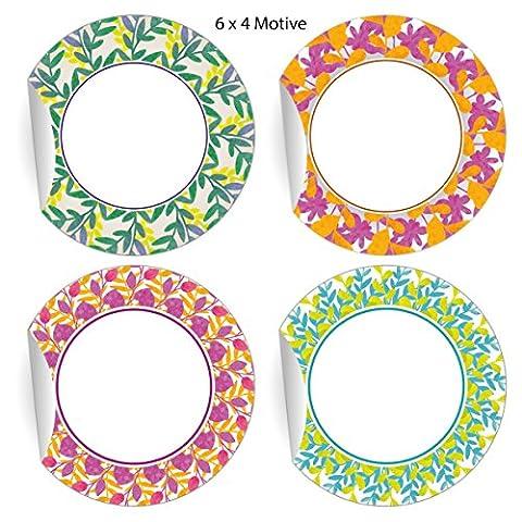 5 x 24 dekorative Aufkleber mit Blätter Kranz zum Beschriften, bunt, MATTE Papieraufkleber für Geschenke, Etiketten für Tischdeko, Pakete, Briefe und mehr (ø 45mm; 4 Motive)