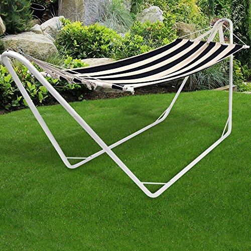 Hängematte mit Metallgestell 200x80cm cremeschwarz Sonnenliege Gartenliege bis 150kg