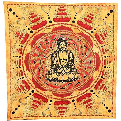 Handicrunch Wandbehang Oranje Rot Lotus Boeddha Wand Kunst Doppel Bettüberwurf Sofahülle Dekor Tapisserie Yoga Buddhismus Chi