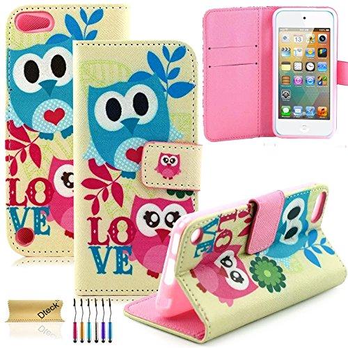 iPod Touch 5/6Fall, dteck (TM) Süßes PU-Leder Ständer Wallet Magnet Case [Karten/Geld Halter] Flip Zusammenklappbar für Apple iPod Touch 5. 6. Gen 10,2cm, 3 Two Owls