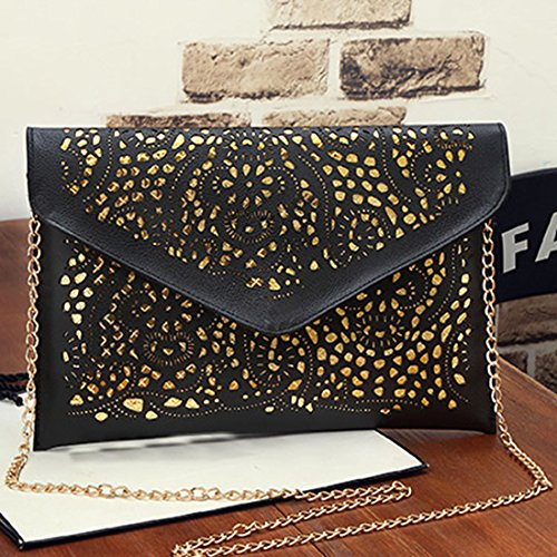 SSMK Envelope Clutch Bag, Poschette giorno donna Black