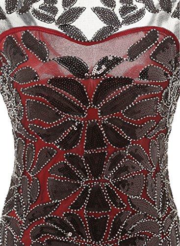 Bbonlinedress Vintage Femme Robe de soirée Robe de bal 1920s Gatsby pailleté années 20 Red Black