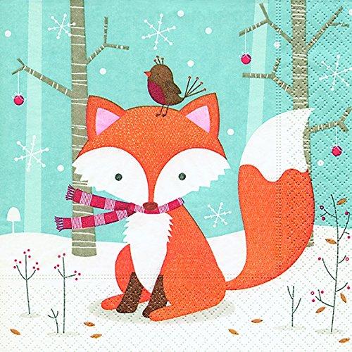 viette 33 x 33 cm (Little friend) Fuchs Geburtstag Kinder Party Weihnachten Winter Schnee Tiere Wald Schneemann Merry Christmas ()