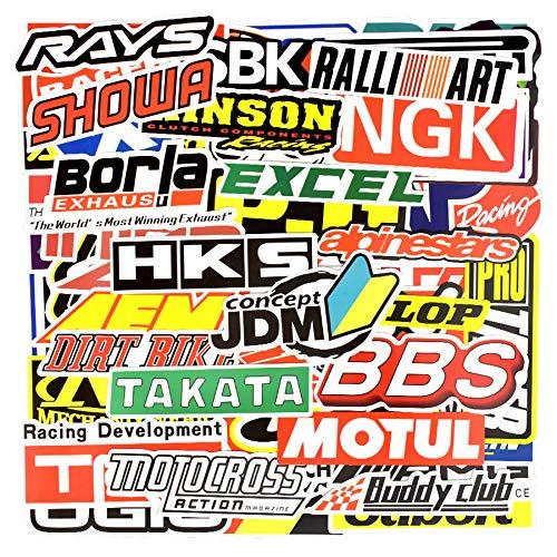Inveroo 100 Pcs Racing Car Sticker Graffiti JDM Car Modification Wasserdicht Aufkleber Für Motorradhelden Motorkoffer Laptop