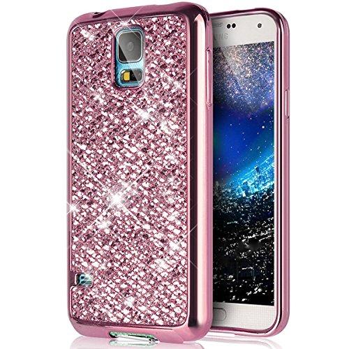 kompatibel mit Galaxy S5 Mini Hülle,Luxus Glänzend Glitzer Strass Diamanten Handyhülle TPU Silikon Hülle Case Tasche Weiche Silikon Rückseite Glitzer Schutzhülle für Galaxy S5 Mini,Rosa (Maßgeschneiderte Hülle Für Galaxy S5)