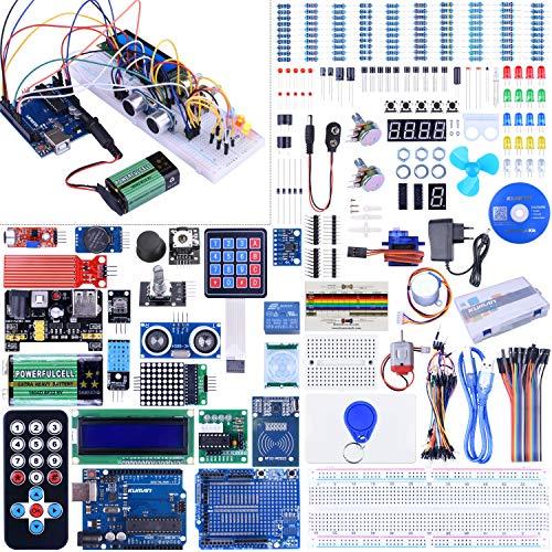 Kuman Kit de Démarrage Pour Arduino, Kit Arduino Amélioré Plus Complet Compatible Avec Arduino MEGA2560 et De Nombreux Accessoires Pour Robot Arduino MEGA2560 Nano K27