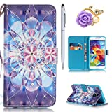 Samsung Galaxy S5 Hülle,Samsung S5 Neo Case - Felfy Flip Bookstyle Wallet Luxe Handyhülle Niedlich Farbe Muster mit Bling Diamant Strass Design PU Leather Stand Wallet Flip Lederhülle Case Cover Pouch Shell Soft mit TPU Inner Shell Multi Function mit Stand Magnetic Slots Lederhülle Bumper Case Cover für Samsung Galaxy S5 G900 / S5 Neo SM-G903F) (Bling Kristallblumen) + 1x Silver Stylus Pen + 1x Lila Blume Bling Dust Plug