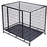 OrangeA Dog Crate 42Inch Heavy Duty Metal Dog Cage Double Door Dog Crates and Cages with Wheels Indoor Pet Cages for Dogs Tray Easy Install (42Inch)