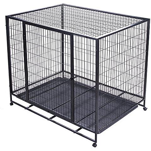 VEVOR Jaula de Transporte Perro 122cm Jaula de Alambre Perro Jaula Transportín de Metal para Mascota con Dos Puertas (48Inch)