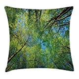VICKKY Forest Home Decor Throw Pillow Cushion Cover, Summer Branches Tranquil Lime Conservation Area Mangrove Willow Paradise, Decorative Square Accent Pillow Case, 18 X 18 inches, Green