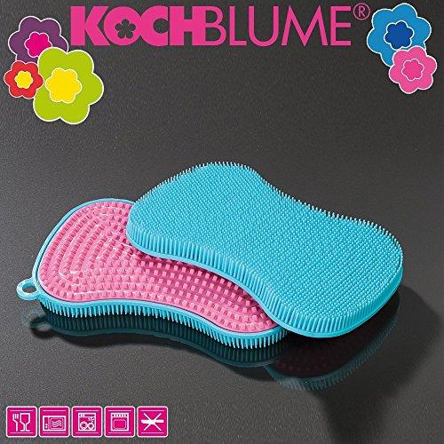 Kochblume Schwamm, Türkis - Pink, 13,5 x 8,5 cm