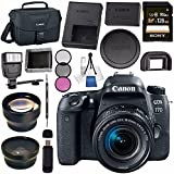 Canon EOS 77D DSLR Camera With 18-55mm Lens 1892C016 + 58mm Wide Angle Lens + 58mm 2x Telephoto Lens + Sony 128GB SDXC Card + Universal Slave Flash Unit + 58mm 3 Piece Filter Kit Bundle