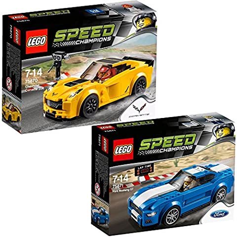 Lego Speed Champions set en 2 parties 75870 75871 Chevrolet Corvette Z06 + Ford Mustang GT