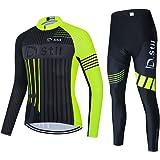 d.Stil Tuta da Ciclismo da Uomo A Maniche Corte Pantaloncini Estivi con Cuscino per Maglia da Ciclismo MTB + Salopette da Cic
