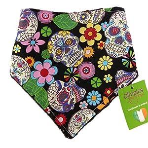 Dimples Bandana pour chien - Crânes mexicains Noirs (fait à la main pour toutes les tailles et races)