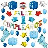 COTIGO-Globos Feliz Cumpleaños Happy Birthday Fiesta Party Docoración para Niños 108 Piezas Globo Látex Azul Color Azul Años 1