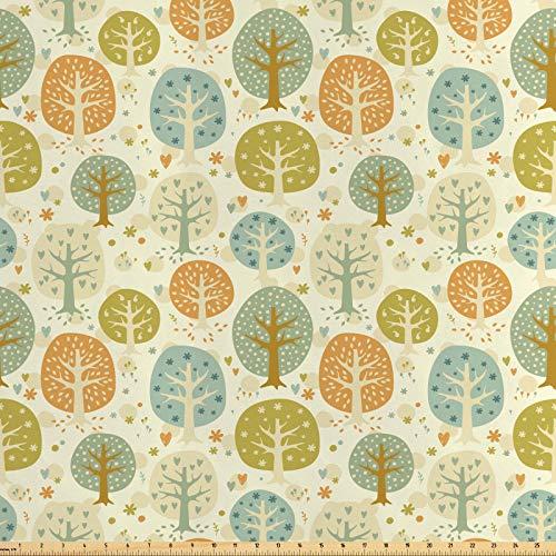 ABAKUHAUS Wald Stoff als Meterware, Bäume Herzen und Blumen, Seidiger Satin Stoff für Polster Heimtextilien, 1M (160x100cm), Mehrfarbig - Wald Polster