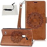 LG G3 LG G3 hülle, TOCASO Wallet Flip Case LG G3 Luxury Schutzhülle LG G3 Leder Blume Wallet Case LG G3 Tasche Leder schwarzer Stift -Braun