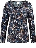 TAIFUN Damen Bluse 1/1 Arm Blusenshirt mit Floral-Print Navy Druck 44