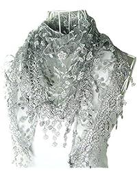 Chal Hugestore con diseño triangular de encaje, borlas y seda gris Gris
