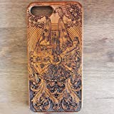 Apple iPhone & Samsung Holzhülle - Ultraslim Handyhülle Echtem Holz Schutz Hülle Schale mit PC Bumper Hart Cover Case Etui Smartphone, Wood Cover Millennium Falcon theme