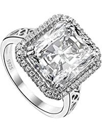 Flyonce Mujer Plata de ley 925 Anillo Arcollas de matrimonio Zirconia Claro Grande Cuadro para regalo