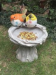 Wonderland Bird Feeder with Two birds & Stand ( bird bath , home decoration, garden birds , balcony , garden decor)