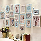 hjky Bilderrahmen Wall Set Maximale Größe des Bild ist Massivholz Rahmen von Continental Restaurant Sofa im Wohnzimmer Wall Bilderrahmen combination19the blau und weiß Kombination Box