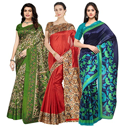 Oomph! Women's Art Silk Printed Sarees Combo - Multi_combo3_koyal_bluefl3016red