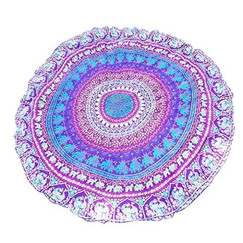 DAMILY Foulard Rond Éléphant Indien Poncho Cape Femme (Violet)