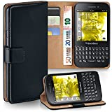moex BlackBerry Q5 | Hülle Schwarz mit Karten-Fach 360° Book Klapp-Hülle Handytasche Kunst-Leder Handyhülle für BlackBerry Q5 Case Flip Cover Schutzhülle Tasche
