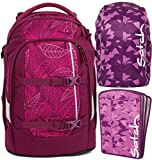 satch pack Purple Leaves 3er Set Rucksack, Heftebox & Regencape Lila