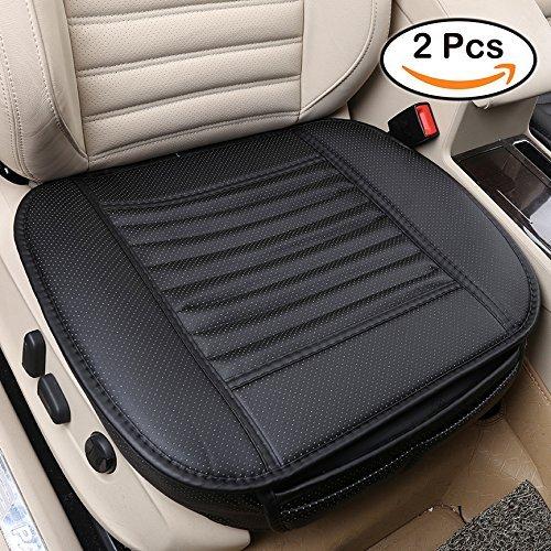 Auto Sitzkissenbezug Innenpolster Matte für Auto-Kfz-Zubehör 4 Jahreszeiten Universal PU-Leder Bambuskohle atmungsaktiv von WYCY (Schwarz 2 Pcs)