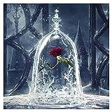 Diamantmalerei, Nelnissa rote Rose, 5D Diamant zum Basteln von Dekorationen 30x 30cm