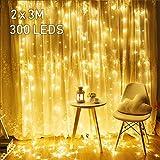 2M x 3M LED Lichtervorhang Avoalre 300 LEDs Lichterkette Vorhang mit Stecker 8 Modi Helles Warmweiß für Innen Außen Neujahr Weihnachten Geburtstag Feiertag Party Hochzeit Zimmer Fenster Deko