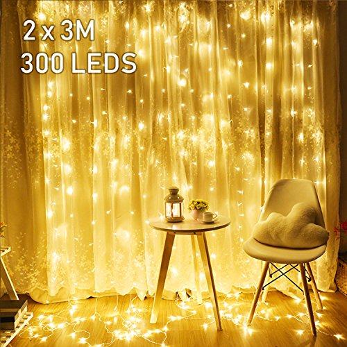 2M x 3M LED Lichtervorhang Avoalre 300 LEDs Lichterkette Vorhang mit Stecker 8 Modi Helles Warmweiß für Innen Außen Neujahr Weihnachten Geburtstag Feiertag Party Hochzeit Zimmer Fenster Deko -