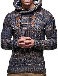 LEIF NELSON pour des Hommes Pullover Pull à Capuche Hoodie Pull en Tricot avec Capuche Longsleeve Sweater Sweatshirt LN6004