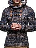 LEIF NELSON Herren-Strickpullover |Strick-Pulli mit Kapuze | Moderner Wollpullover Sweatshirt Langarm