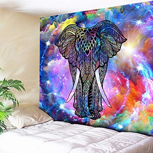 AKGGU Bohemia Elefante Pared Tapiz Mandala Colgando decoración del hogar Indio Brillante Galaxia Manta de Pared Hippie Retro Yoga Toalla de Playa, 150x150cm / 59x59 Pulgadas