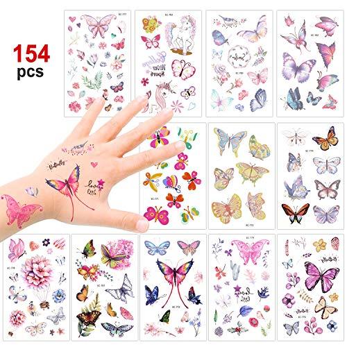 Konsait farfalla tatuaggi temporanei per bambini, finti tatuaggio tattoos adesivi giocattolo gadget per ragazza bambini festa di compleanno regalo, 12 fogli