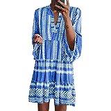 ORANDESIGNE Damen Kleider Strand Elegant Casual A-Linie Kleid 3/4-Arm Sommerkleider Boho V-Ausschnitt Tunika Mini Kleider