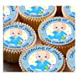 24 x Personalised Christening Birthday Cup Cake Toppers with Any Name & Date on Decor Real Edible Icing BOY