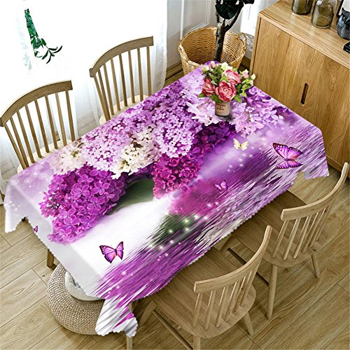 Nappe 3D Purple rose fleurs Impression Rectangulaire Anti-poussière Décoration Table Top Cover , 3 , a