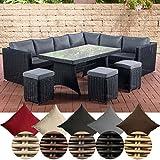 CLP Gartengarnitur Siena I Sitzgruppe mit 8 Sitzplätzen I Gartenmöbel-Set aus Polyrattan I Outdoor-Möbel Bezugsfarbe: Eisengrau, Rattanfarbe: Schwarz