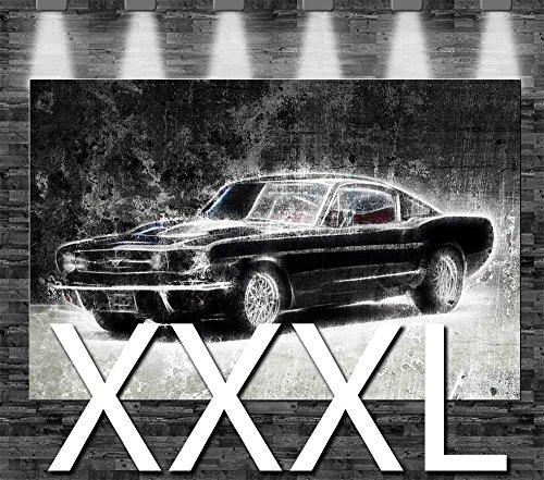 Premium Kunstdruck Leinwandbild - Ford Mustang 1965 auf Leinwand - aufgespannt auf 2cm Keilrahmen,...