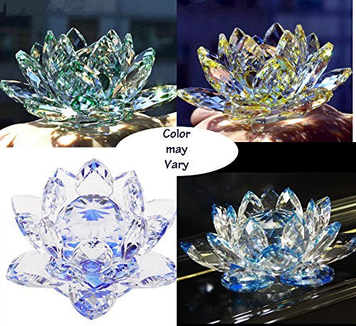 Paradigm Pictures Feng Shui Crystal Lotus Flower (1 Piece) for Positive Energy and Good Luck (Assorted Colors)